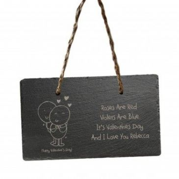 Chilli and Bubbles Valentine's Day hanging slate sign